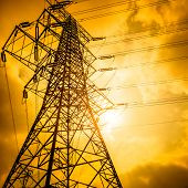 pic of voltage  - High voltage towers with sky background - JPG
