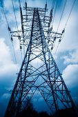 image of voltage  - High voltage towers with sky background - JPG