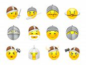 pic of emoticons  - Funny and cute anime emoticons Knights and Vikings yellow - JPG