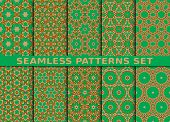 stock photo of ten  - Beautiful geometric seamless patterns set - JPG