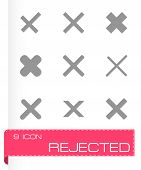 picture of reject  - Vector rejected icon set on grey background - JPG