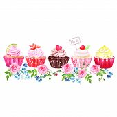 pic of eat me  - Colorful cupcakes with flowers vector design stripe - JPG