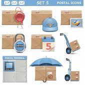 pic of wheelbarrow  - Postal Icons Set 5 including parcel - JPG