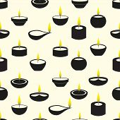 picture of diwali  - diwali candles with flame icons seamless pattern eps10 - JPG