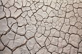 stock photo of drought  - Background of parched cracked dirt soil caused by summer drought - JPG