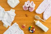 foto of teething baby  - Collection of items for babies shot from above - JPG