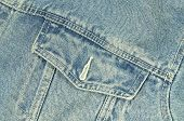 picture of jacket  - close up of a blue denim jacket with pocket - JPG