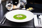 picture of scallops  - Broccoli cream soup with white fish and scallops - JPG