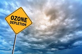 stock photo of ozone layer  - Sign with words  - JPG