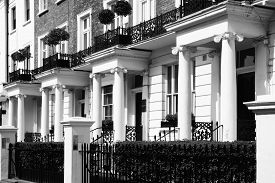 picture of edwardian  - Black and white monochrome photograph picture of  expensive old fashioned typical Regency Georgian terraced town houses building architecture in fashionable Notting Hill - JPG