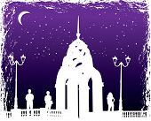Vector Silhouettes Man And Women On Background Night City poster