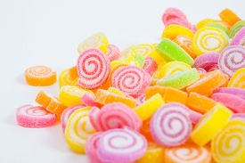 pic of flavor  - Jelly sweet flavor fruit candy dessert colorful on white paper background - JPG