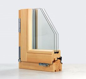 stock photo of hermetic  - section window with three glasses and two air chambers - JPG