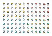Flat line colorful icons collection of people avatars poster