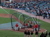 Phillies Players Taking Batting Practice Before Game