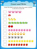 Kids Worksheet Count And Write poster