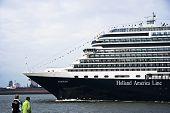 Cruiseship Eurodam Coming In To Visit Rotterdam.