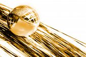 image of tawdry  - yellow christmas ball and shiny spangle - JPG