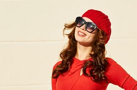 picture of beret  - Beautiful woman in red dress - JPG