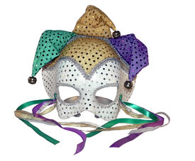 image of mardi gras mask  - a isolated photo of a carnival mask on a white background - JPG