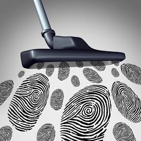 stock photo of gathering  - Collecting customer identity and individual data mining concept as a symbol of gathering personal information as a vacuum cleaner sucking and retrieving a group of finger prints or fingerprint as a security technology metaphor - JPG