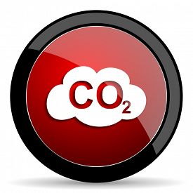 stock photo of carbon-dioxide  - carbon dioxide red circle glossy web icon on white background - JPG