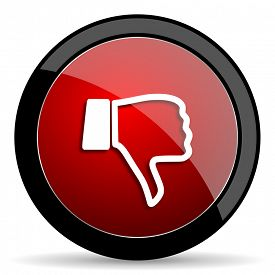 pic of dislike  - dislike red circle glossy web icon on white background - JPG
