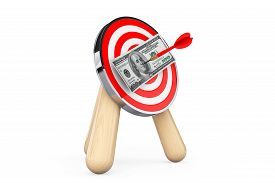 pic of archery  - Dollar Banknote in Center of Archery Target on a white background - JPG