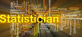 stock photo of statistician  - Background concept wordcloud illustration of statistician glowing light - JPG