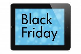 picture of friday  - Black Friday Sale Tablet with words Black Friday isolated on a white background - JPG