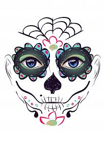 image of day dead skull  - Sugar skull girl face with make up for Day of the Dead  - JPG