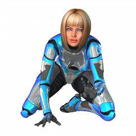 stock photo of cyborg  - 3D digital render of a female cyborg isolated on white background - JPG