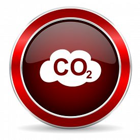 foto of carbon-dioxide  - carbon dioxide red circle glossy web icon - JPG