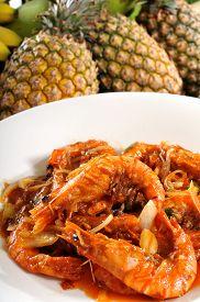 stock photo of shrimp  - Shrimps cuisine - JPG