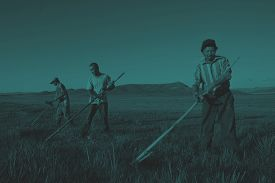stock photo of mongolian  - Mongolian Farmers Working Hard Agricultural Crop Concept - JPG