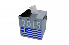 picture of election  - Render illustration of Greek 2015 election ballot box isolated on white - JPG