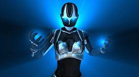 image of cyborg  - advanced female cyborg character holding energy charge - JPG