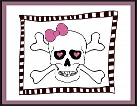 stock photo of eye-sockets  - Skull with bow and hearts in an eye sockets card on white background - JPG