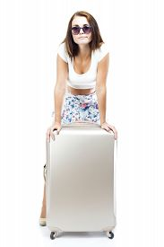 pic of disappointed  - Unhappy and disappointed tourist woman with suitcase isolated white - JPG