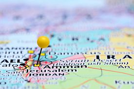 stock photo of amman  - Photo of pinned Amman on a map of Asia - JPG
