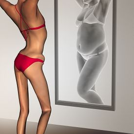 stock photo of emaciated  - Concept or conceptual 3D woman - JPG
