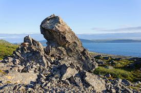 image of murmansk  - Big rock on the coast of the Barents Sea on the Rybachy peninsula near Murmansk summer time - JPG