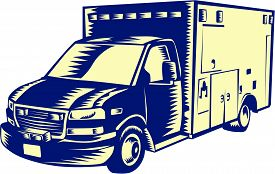 stock photo of ambulance  - Illustration of an EMS emergency medical service ambulance vehicle viewed from front on isolated white background done in retro woodcut style - JPG