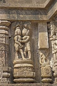 image of kamasutra  - Famous erotic stone carving on the wall of ancient Sun temple in Konark - JPG