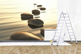 foto of mural  - 3d render of redecorate a room with a photo mural - JPG
