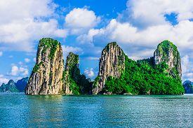 stock photo of southeast  - Mountain Islands in Halong Bay Vietnam Southeast Asia - JPG