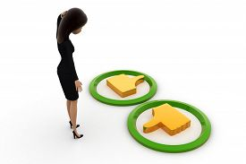 stock photo of dislike  - 3d woman confused about like dislike concept on white background side angle view - JPG