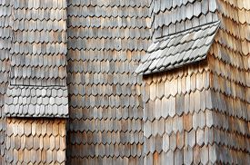 picture of shingles  - Wooden shingle old architecture detail structure background - JPG
