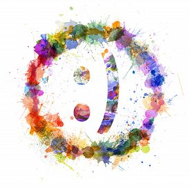 stock photo of emoticon  - Emoticon smile concept watercolor splashes as a sign isolated on white - JPG