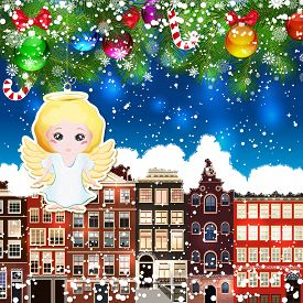 pic of christmas angel  - Christmas angel on the background of snow - JPG
